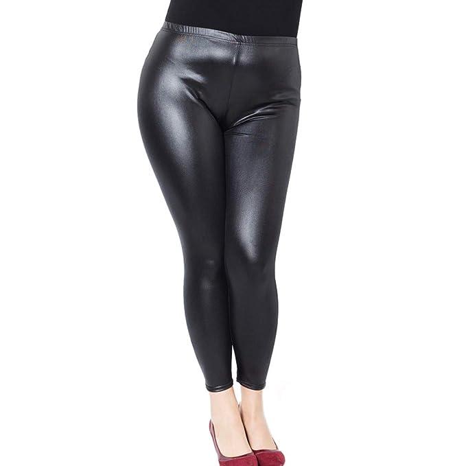2ec22861e0d4a4 Just For Plus Fashion Women's Faux Leather Pants Legging Plus Size High  Waist Full Length,
