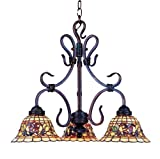 Elk 363-Va Tiffany Buckingham 3-Light Chandelier - 20-Inch - Vintage Antique With Tiffany Style Glass