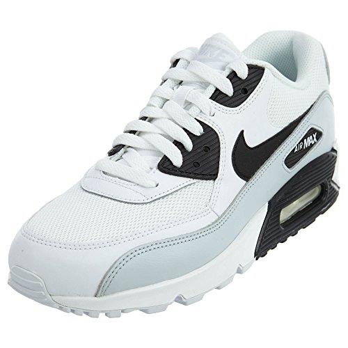 Cheap NIKE Air Max 90 Essential Mens Running Shoes, White/Black-Pure Platinum-White, 8 D(M) US