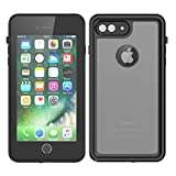 Scheam iPhone 7 Plus Waterproof Case, Boys Boys Underwater Case with screen protector for iPhone 7 Plus - Black