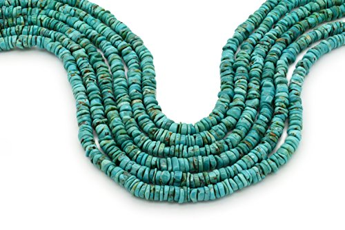 - Bluejoy Genuine Natural American Turquoise 6mm Free-Form Disc Bead 16 inch Strand for Jewelry Making