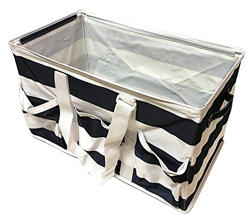 Mainstay Collapsible Utility Tote Navy Rugby Stripes