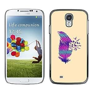 For SAMSUNG Galaxy S4 IV / i9500 / i9515 / i9505G / SGH-i337 Case , Teal Purple Pink Beige Bird Feather - Diseño Patrón Teléfono Caso Cubierta Case Bumper Duro Protección Case Cover Funda