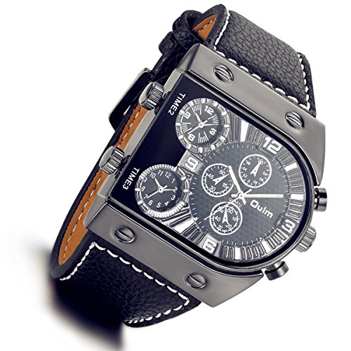 Designer Watch (Men's 3 Time-Zone Supported, Japan SEIKO Quartz, Large Face Military Army Leather Watch(black))