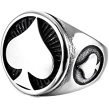 INBLUE Men's Stainless Steel Ring Silver Tone Black Ace of Spades Poker Card