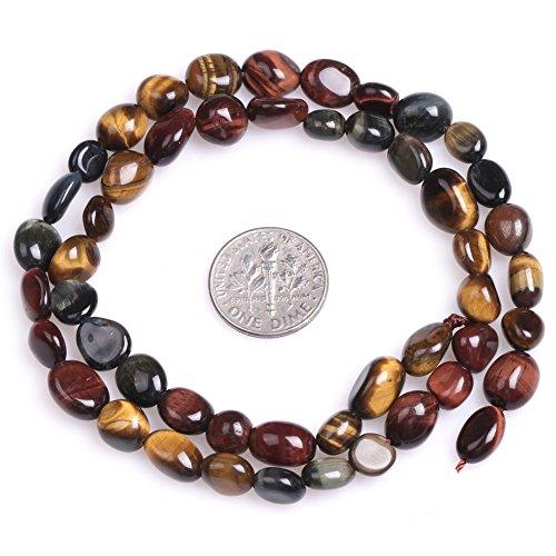 Tiger Eye Beads for Jewelry Making Natural Semi Precious Gemstone 8x10mm Freeform Potato Multicolored Strand 15