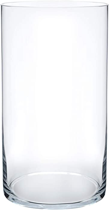 "Royal Imports Flower Glass Vase Decorative Centerpiece for Home or Wedding Cylinder Shape, 10"" Tall, 5"" Opening, Clear"