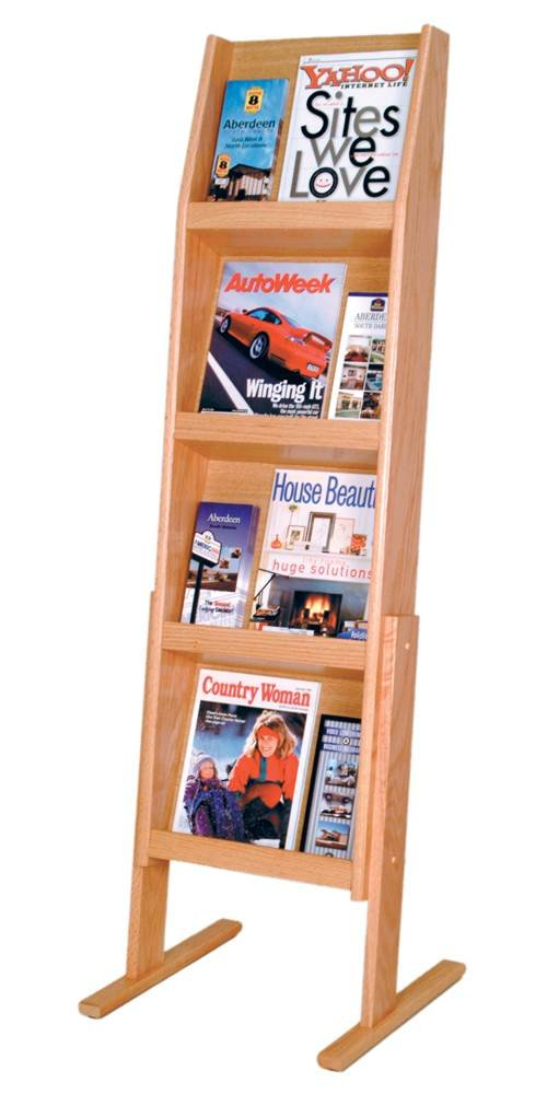 Wooden Mallet Slope 12 Pocket Standing Literature Display 4Hx3W, Light Oak
