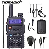 Walkie Talkie UV-5R Dual Band Two Way Radio With One More 1800Mah UV 5R Battery One Car Charge One Hand Mic.and One TIDRADIO NA-771 Antenna Ham Radio
