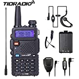 UV-5R Walkie Talkie, Dual Band Two Way Radio With One More 1800Mah Battery One Car Charge One Hand Mic.and One TIDRADIO NA-771 Antenna Ham Radio