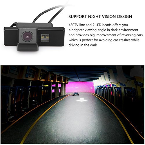 Navinio Universal Vista trasera cámara CCD Chip (Negro) para Qashqai /X-Trail/Geniss/Navara/Pathfinder/Dualis/ C4/C5/C-Triomphe/C-Quatre Hatchback/Sunny/ ...