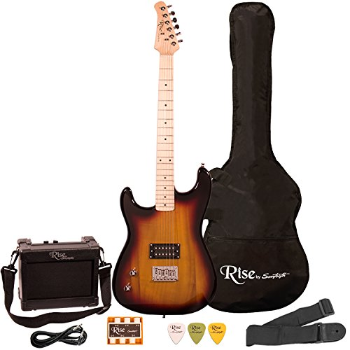 Left Handed Guitar - Rise by Sawtooth ST-RISE-ST-LH-SB-KIT-1 Electric Guitar Pack, Left Handed, Sunburst