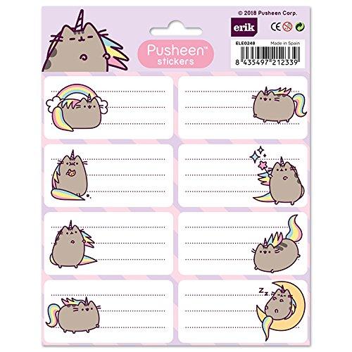 /Étiquettes Scolaires Erik 8x4cm Pusheen the Cat Licorne