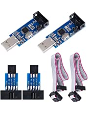 KeeYees 2pcs Downloader Programmer for USBASP for ISP with Cable and 10Pin to 6Pin Adapter Board for 51 for AVR Series Microcontroller
