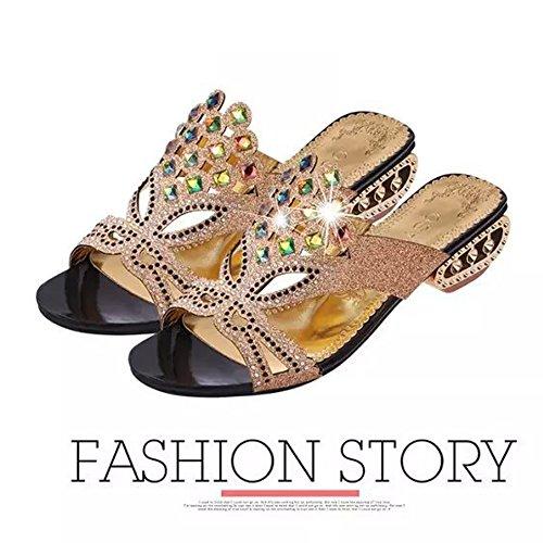 Pantoufles Fashional Pantoufles Noir Femme de Flash Strass Pantoufles Pour Mi Coréen en Style à Pantoufles Talons Hauts PRwqEBw