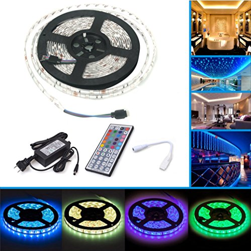 LED Strip Lights,Waterproof Color Changing RGB SMD5050 150 LEDs, LED Strip Kit & Mini 44-key IR Controller + 12V Power Supply, Adhesive Light Strips