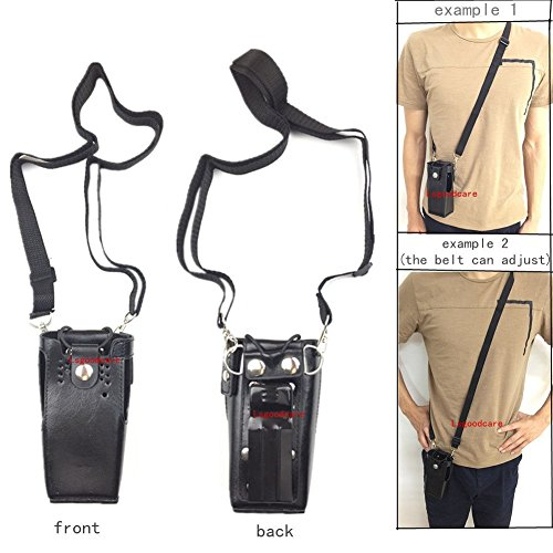 Lsgoodcare Black Hard Leather Carrying Holder Holster Case with Adjustable Shoulder Strap Compatible for Motorola 2 Way Radio HT1250 HT1550 GP320 GP340 GP380 GP338 ()