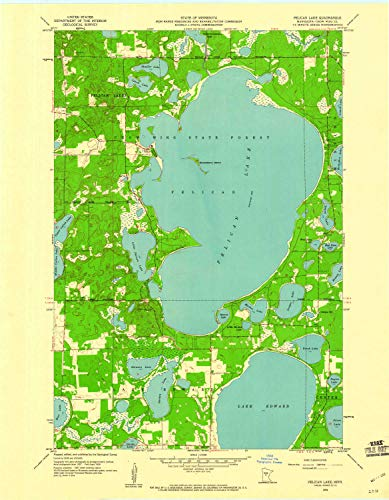 YellowMaps Pelican Lake MN topo map, 1:24000 Scale, 7.5 X 7.5 Minute, Historical, 1959, Updated 1960, 27.2 x 21.2 in - Paper