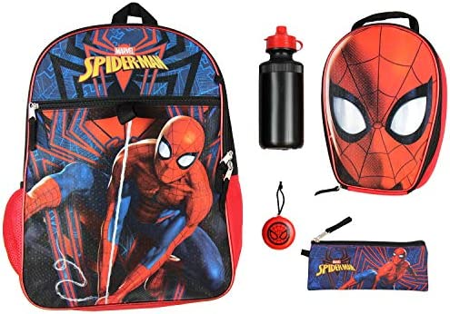 "Marvel Spider-Man Backpack Kids 16"" 5PC Water Bottle School Combo Set"