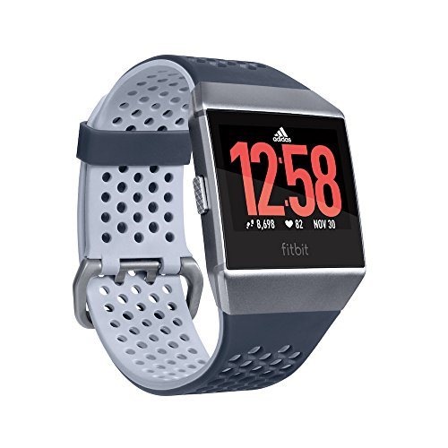 Fitbit Ionic Adidas Edition, Ink Blue/Ice Gray/Silver Gray, One Size (S & L Bands Included)