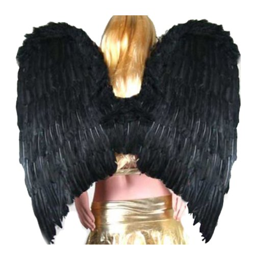 SACAS Super Large Black Feather Angel halloween Wings w/ Halo for adult (Halloween Black Angel Wings)