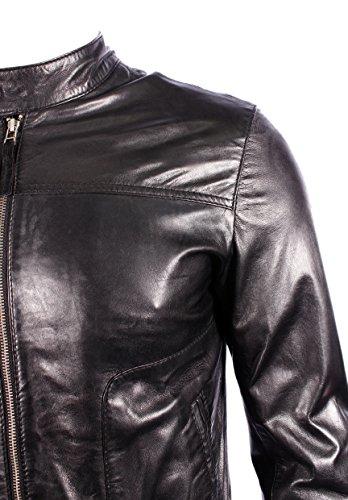 Men's New M-124 Black Napa aus echtem Lammfell Schaum Rock BIKER Jacke mit Reißverschluss