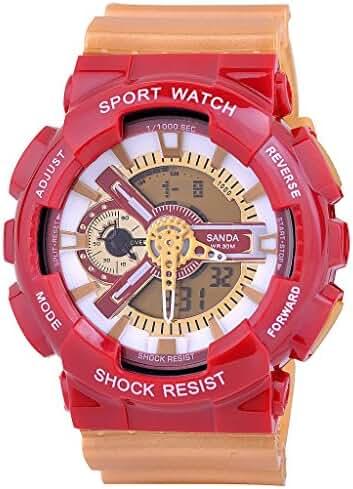 Kid's Dual Dial Analog Digital Waterproof Students Watch Chronograph Wrist Watch Green+Purple