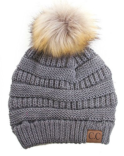 (Plum Feathers Soft Stretch Cable Knit Ribbed Faux Fur Pom Pom Beanie Hat (Light)