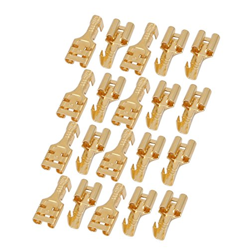 Uxcell Brass 6.3 mm Connectors Female Spade Cable Terminals, 20 Piece