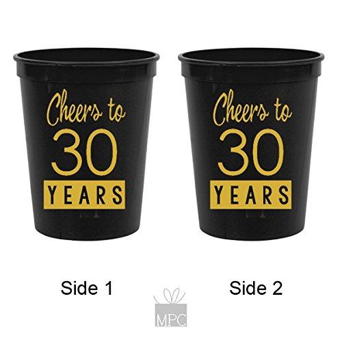 30th Birthday Black Stadium Plastic Cups - Cheers to 30 Years