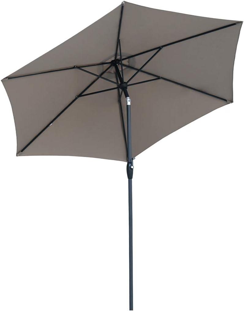 Sekey® sombrilla Parasol para terraza jardín Playa Piscina Patio diámetro 270 cm Protector Solar UV50+ (Metal, marrón)