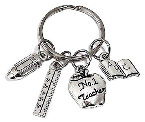 (Teacher Keychain, Teacher Key Ring, Pencil Keychain, Ruler Keychain, Book Keychain, No. 1 Teacher Keychain, Teacher Charm keycharm, Gift for Teacher)