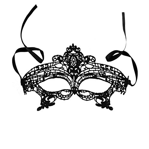 Rbenxia Women Girl Sexy Lace Eyemask Eye Mask for Halloween Masquerade Party Black, Black]()