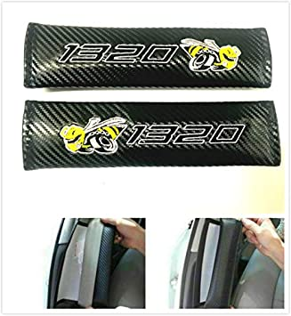 Auggies Scat Pack Bee Carbon Fiber Embroidery Car Seat Belt Covers Leather Shoulder Pads