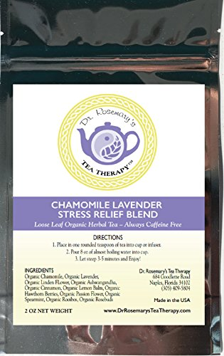 Chamomile Lavender Stress Relief Blend - Loose Leaf Organic Herbal Tea by Dr. Rosemary's Tea Therapy. Caffeine & Gluten ()