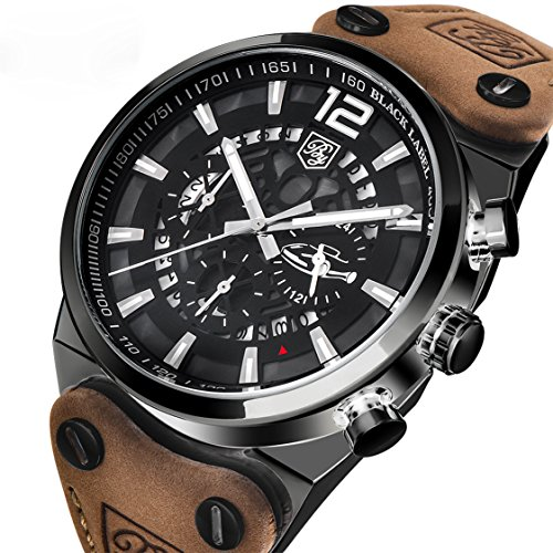 [Men's Sports Military Watches Chronograph Calendar 3 ATM Waterproof Genuine Leather Band Wrist Watch] (Leather Genuine Chronograph)