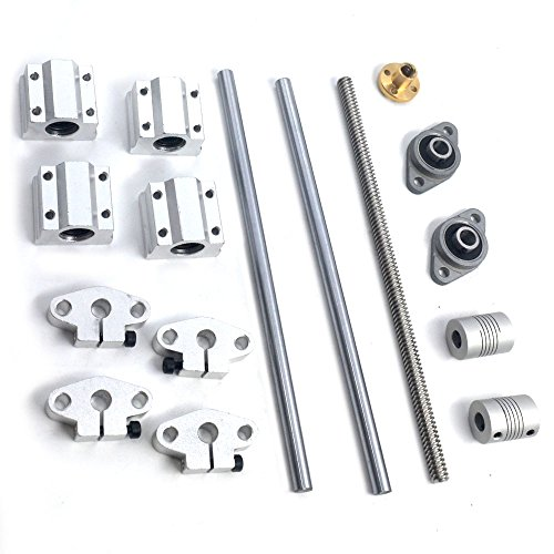 T8 Lead Screw Kit, Mergorun Vertical 8mm Lead Screw 300mm Length Shaft Optical Axis&Pillow Block Bearings Slide Block with Dual Rail Shaft Support SHF8 &Flexible Shaft Coupling KFL08 Pack of 16 by Mergorun