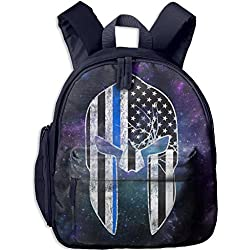 Thin Blue Line - Spartan Mask American Flag Kids Casual Lightweight Canvas Backpacks School Rucksack Travel Backpack.