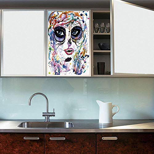 C COABALLA Privacy Frosted Decorative Vinyl Decal Window Film,Sugar Skull Decor,for Bathroom, Kitchen, Home, Easy to Install,Halloween Girl with Sugar Skull Makeup Watercolor -
