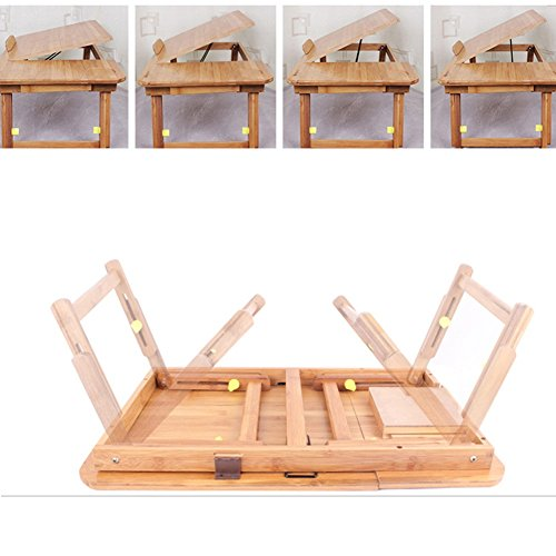 PENGFEI Portable Standing Desk Solid Wood Multifunction Collapsible Laptop Stand Reading Bookshelf Height Adjustable Mobile College Students Bamboo Wood Color, 2 Size (Color : Medium Normal) by PENGFEI-xiaozhuozi (Image #4)