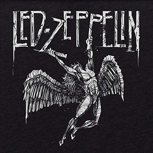 b7f73e52fe9b5b Amazon.com  Led Zeppelin Falling Angel Distressed Hand Drawn Logo Men s  T-shirt Tee Rock  Handmade