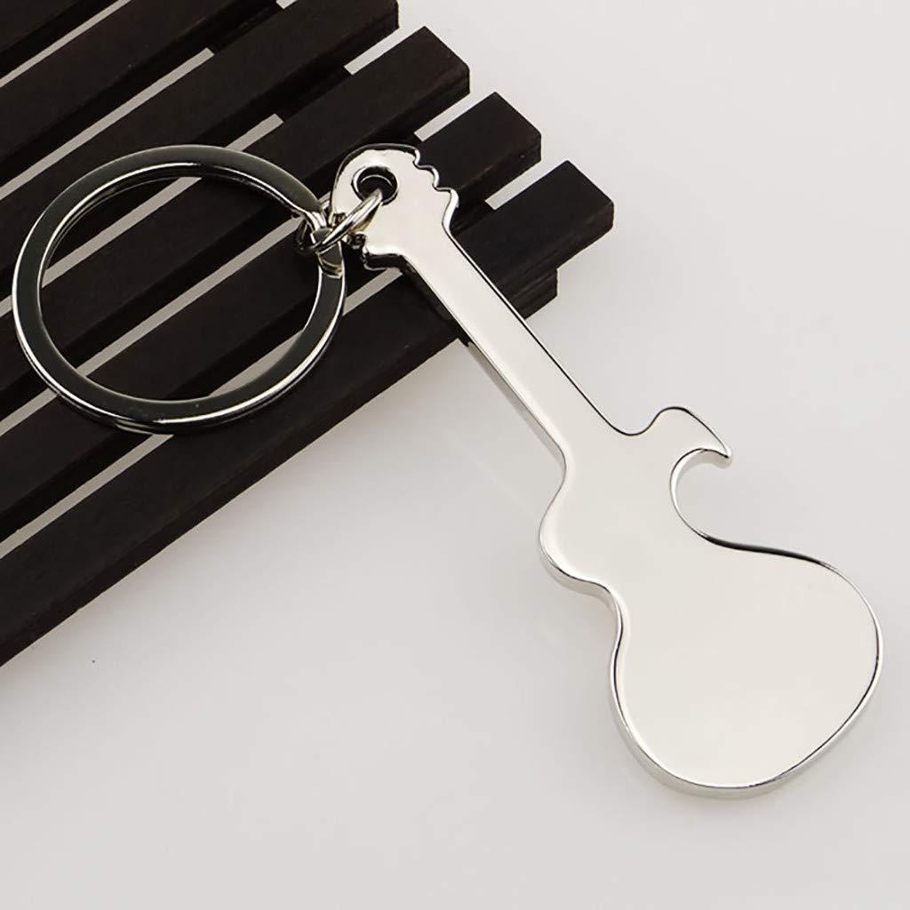 MSOO Pocket Small Metal Alloy Beer Bottle Opener Tool Guitar Keyring Keychain Gift
