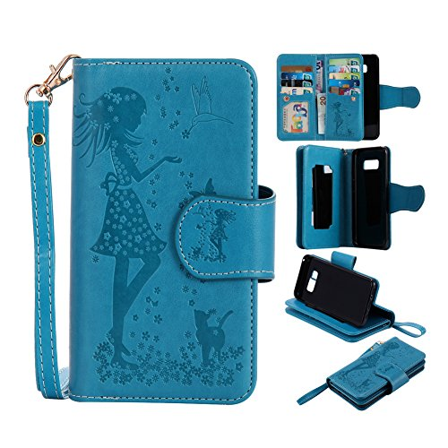 Amazon Prime Deal Clearance Sale-Galaxy S8 Wallet Phone Case, Welegant Embossed Girls Magnetic Flip Protective Cover with Detachable Wrist Strap, Card Slots and Mirror for Samsung Galaxy S8 (Blue)
