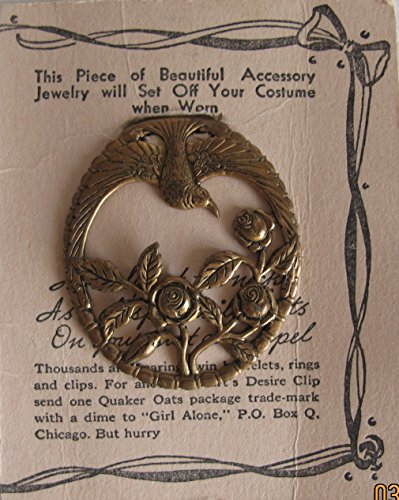 RADIO PROMO Patricia Rogers 'GIRL ALONE' Brass HEART'S DESIRE Dress CLIP ON Jewelry w CARD - Ordered on LITTLE ORPHAN ANNIE Form (1937 Quaker Oats)