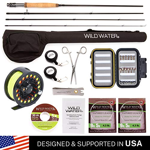 Wild Water Fly Fishing Deluxe Rod and Reel Combo 4 Piece Fly Rod 3/4 9' Complete Starter Package (Thread Rod Fly)