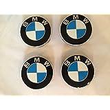 4 X BMW Blue Wheel Center Caps, Badge, Emblem 68mm By SH