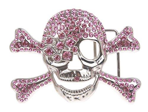(Rhinestone Skull & Crossbones Pirate Belt Buckle Color: Pink)