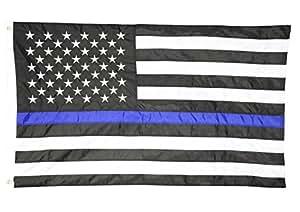 homluxe 3x 5ft nylon delgada línea azul USA Bandera con estrellas bordadas y cosido rayas