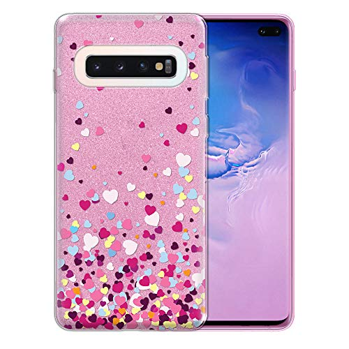 FINCIBO Case Compatible with Samsung Galaxy S10+ / S10 Plus 6.4 inch, Shiny Sparkling Pink Bling Glitter TPU Protector Cover Case for Galaxy S10 Plus (NOT FIT S10, S10E) - Falling Hearts ()