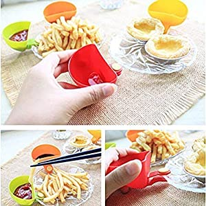 Dip Clip Bowl Plate Holder -8pcs Color Plastic Dish Chip And Dip Serving Set For Spice Tomato Sauce Salt Veggie Vinegar…